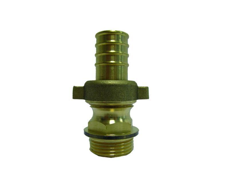 3/4'' (bui.dr) x 25 mm (slangtule) messing driedelige slangkoppeling