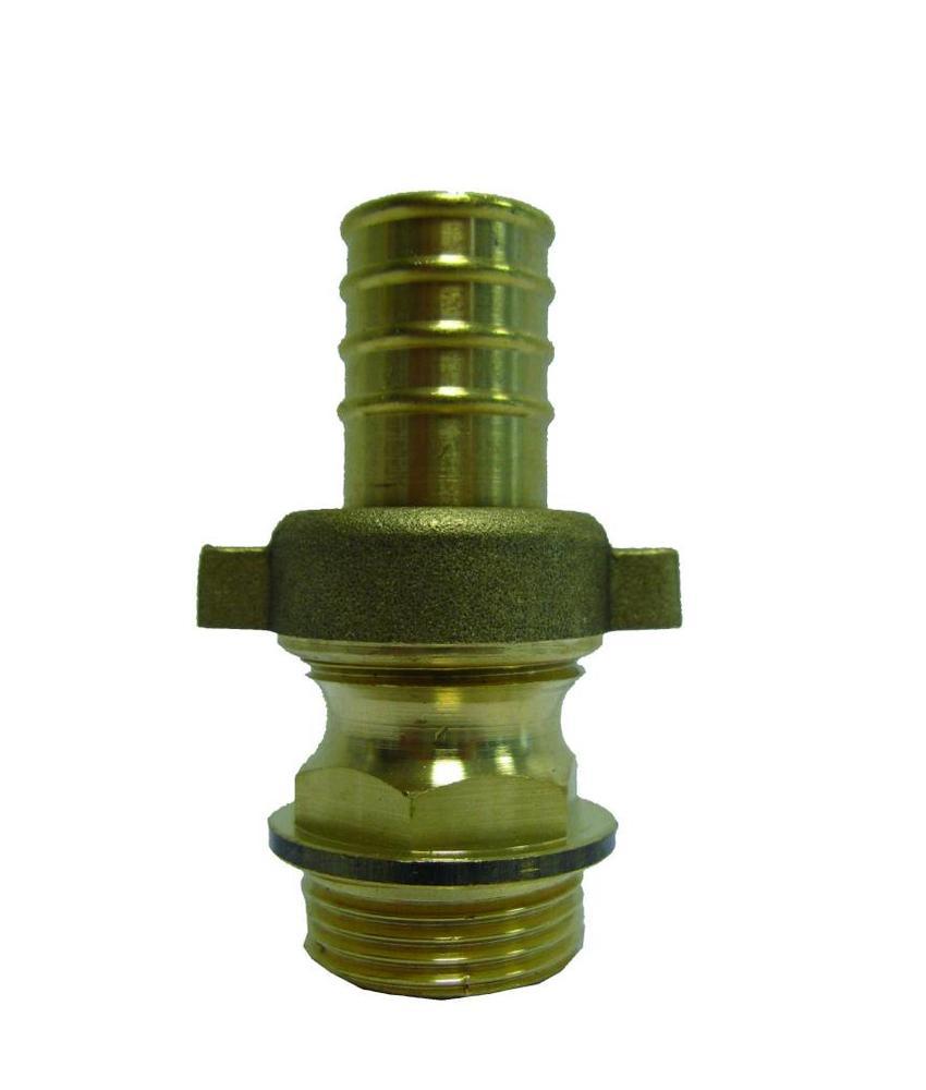 1 1/2'' (bui.dr) x 40mm (slangtule) messing driedelige slangkoppeling