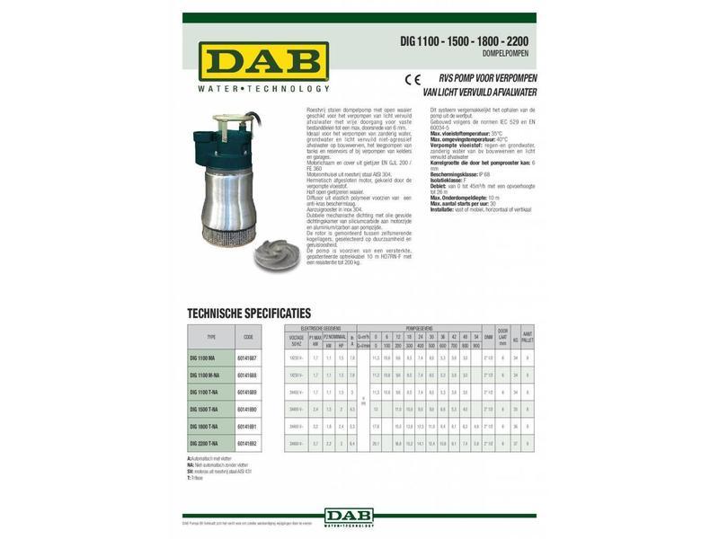 DAB DIG 2200 T-NA 400V RVS dompelpomp