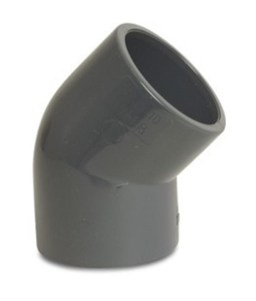 VDL PVC knie 45 graden Ø 16 mm, PN16