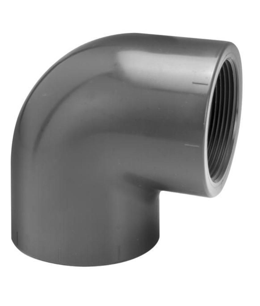 VDL PVC knie Ø 16 x 3/8'' 90 graden met binnendraad