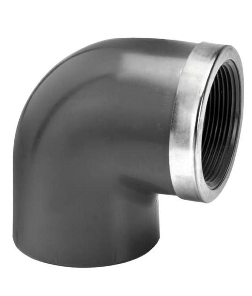 VDL PVC knie Ø 40 x 1 1/4'' 90 graden met binnendraad en ring