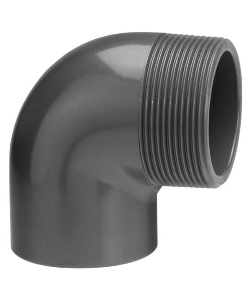 VDL PVC knie Ø 50 x 1 1/4'' 90 graden met buitendraad
