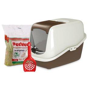PeeWee Kattenbak Startpakket EcoHus bruin