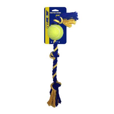 PetSport USA 3-Knoops Katoenen Speeltouw met bal