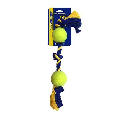 PetSport USA 3-Knoops Katoenen Speeltouw met 2 ballen
