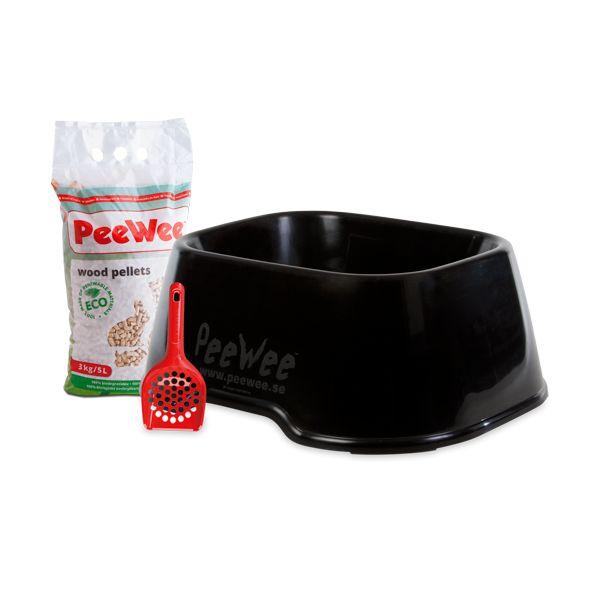 PeeWee Open Kattenbak Startpakket EcoClassic zwart