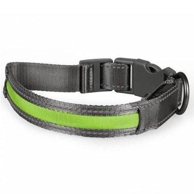 Duvo+ Metal Halsband met Verlichting USB groen