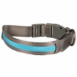Duvo+ Metal Halsband met Verlichting USB blauw
