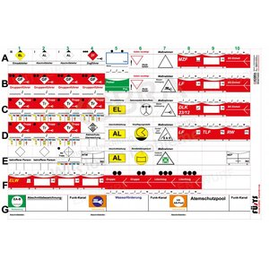 FÜsYS Standard-Set Feuerwehr 60 Taktische Zeichen inkl. Abschnittsbeschriftungen