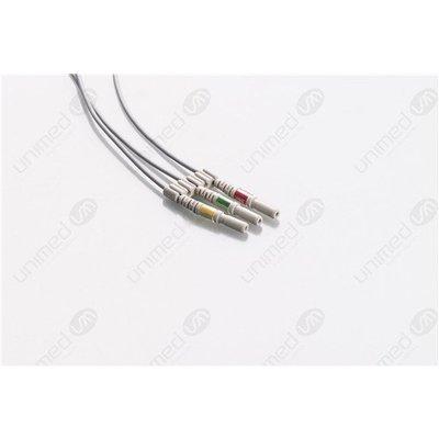Unimed 3- lead ECG DIN Unshielded Leadwire Neonate, mini- GRABBER