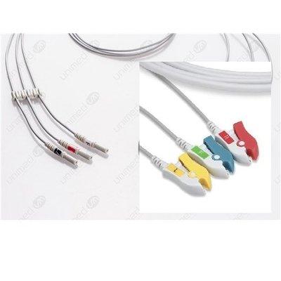 Unimed 3- lead ECG DIN Unshielded Leadwire, GRABBER