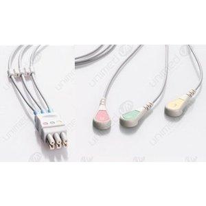 Unimed 3-lead ECG Leadwire, SNAP, GE Critikon, Medtronic-Physiocontrol