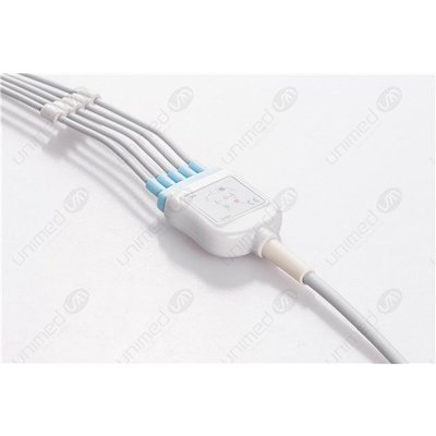 Unimed 5-lead One Piece Cable, SNAP, GE Hellige