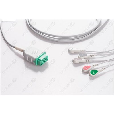 Unimed 5-lead One Piece Cable, SNAP, GE Marquette