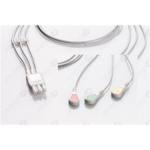Unimed 3-lead ECG Leadwires, SNAP, Philips/HP