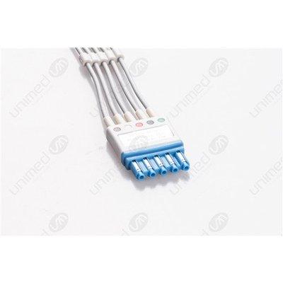 Unimed 5-lead ECG Leadwires, SNAP, Philips/HP