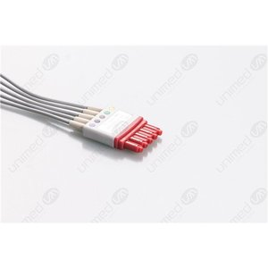 Unimed 5-lead ECG Leadwires, SNAP, Philips/HP  -RED