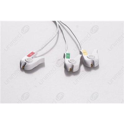 Unimed Dräger/Siemens, Disposable 3-lead GRABBER,shielded ribbon cable, 90cm, 10pc/pck