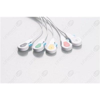 Unimed Dräger/Siemens, Disposable 5-lead SNAP,shielded ribbon cable, 90cm, 10pc/pck