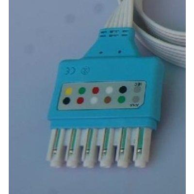 Unimed Dräger/Siemens, Disposable 5-lead GRABBER,shielded ribbon cable, 90cm, 10pc/pck