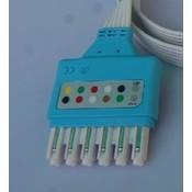 Unimed Dräger/Siemens, Disposable 6-lead GRABBER,shielded ribbon cable, 90cm, 10pc/pck