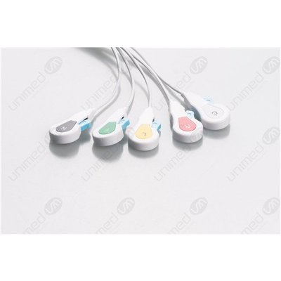 Unimed Philips Twin Pin (AA Style), Disposable 5-lead SNAP,shielded ribbon cable, 90cm, 10pc/pck
