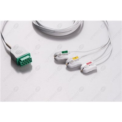 Unimed GE Multi-Link, 3-lead,Disposable, One piece ECG lead wires, GRABBER, 8pc/pck