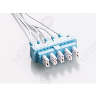 Unimed Philips Twin Pin (AA Style), Disposable 5-lead GRABBER,shielded ribbon cable, 90cm, 10pc/pck