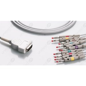 Unimed 10-lead One Piece EKG Fixed Cable + Resister, Banana, GE Marquette