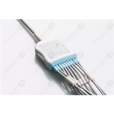 Unimed 10-lead One Piece EKG Fixed Cable + Resister, Grabber, GE Marquette