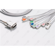Unimed 10-lead One Piece EKG Fixed Cable, Snap, Philips/HP, Welch Allyn