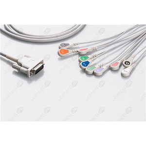 Unimed 10-lead One Piece EKG Fixed Cable + Resister, Snap, Philips/HP