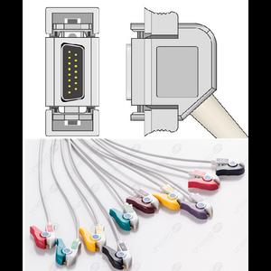 Unimed 10-lead One Piece EKG Fixed Cable ,Grabber, Hellige/Siemens Hormann/Bosch