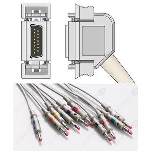 Unimed 10-lead One Piece EKG Fixed Cable + Resister, Banana, Hellige/Siemens Hormann/Bosch