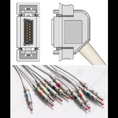 Unimed 10-lead One Piece EKG Fixed Cable, Banana, Hellige/Siemens Hormann/Bosch