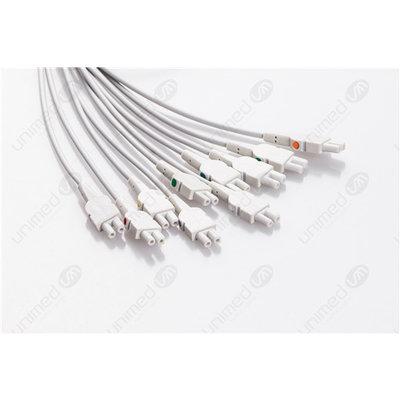Unimed 10-lead EKG patient Leadwires, 3mm needle, GE CAM14