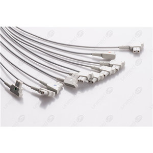 Unimed 10-lead EKG patient  Leadwires, Snap, GE AM4/AM5
