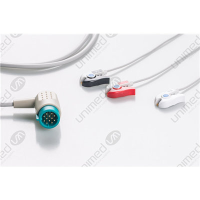 Unimed 3-lead One Piece Cable, GRABBER, Medtronic-Physiocontrol