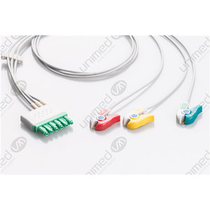Unimed 3-lead ECG Leadwires, Integrated, GRABBER, Dräger