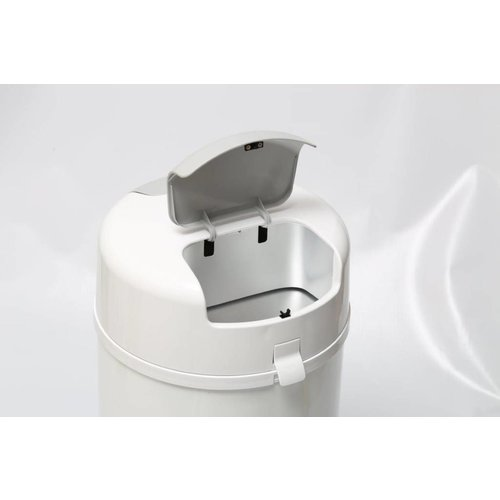Bubula White - Bubula Diaperpail with a unique 2 step, and works with regular trashbags