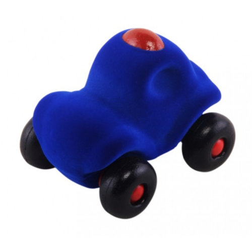 Rubbabu Kleine Politie Auto (11cm) - Blauw - Fluweelzacht