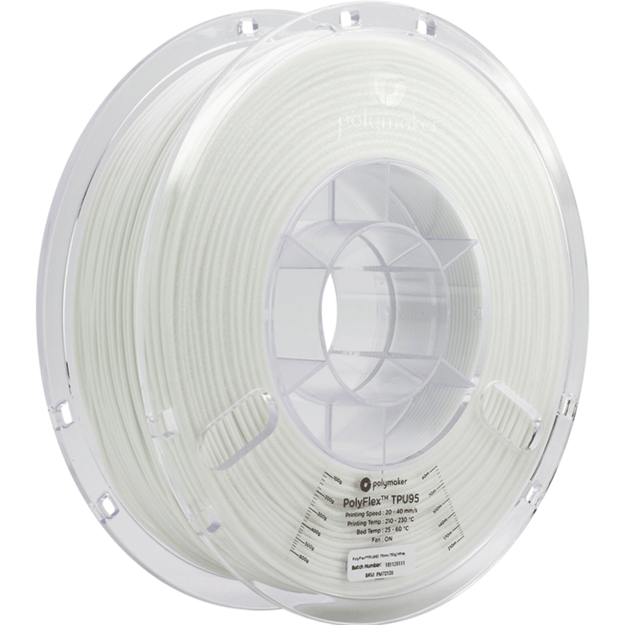 PolyFlex™ TPU95-High Flow, white, flexible filament - 1 KG/1000 grams-1
