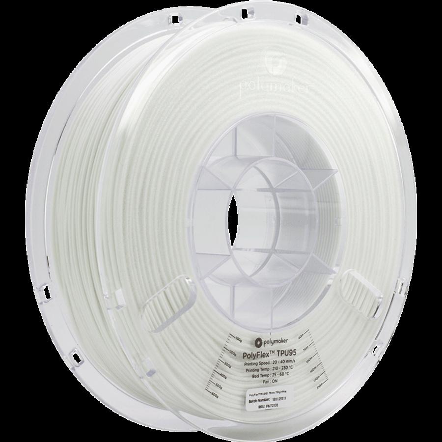 PolyFlex™ TPU95-High Flow, White/wit, flexibel filament - 1KG/1.000 gram-1