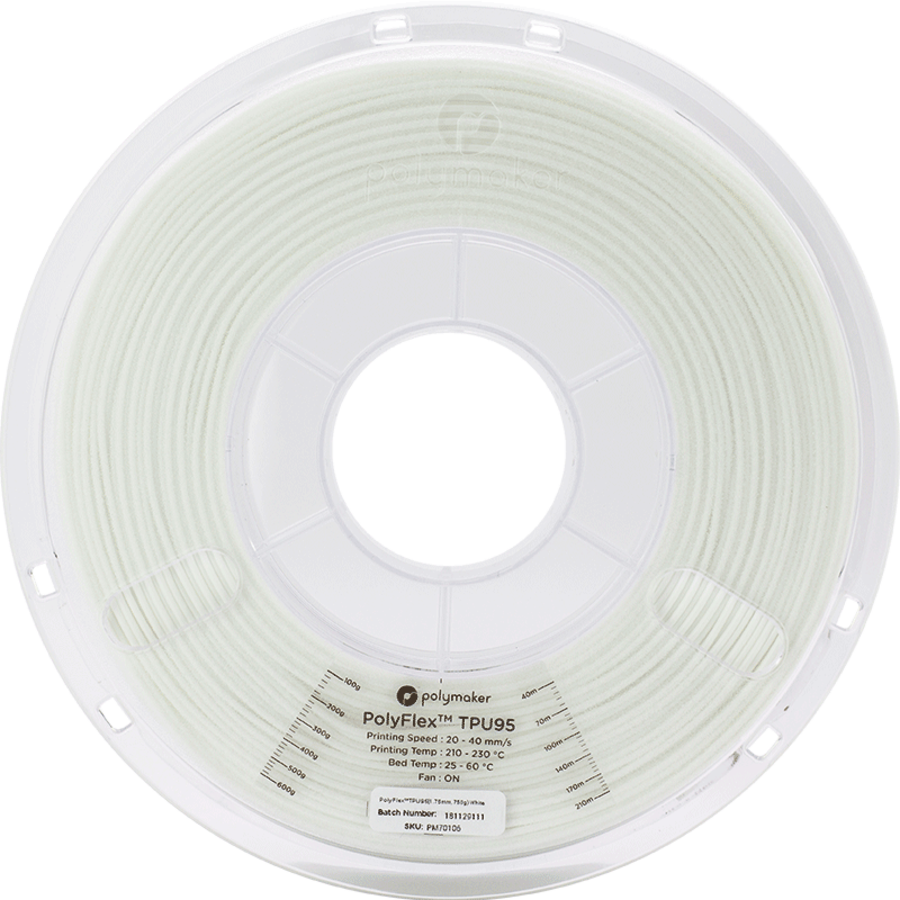 PolyFlex™ TPU95-High Flow, white, flexible filament - 1 KG/1000 grams-3
