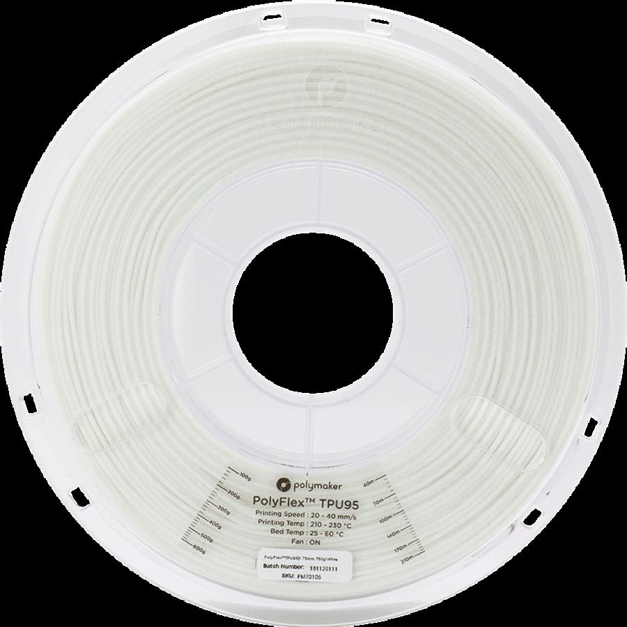 PolyFlex™ TPU95-High Flow, White/wit, flexibel filament - 1KG/1.000 gram-3