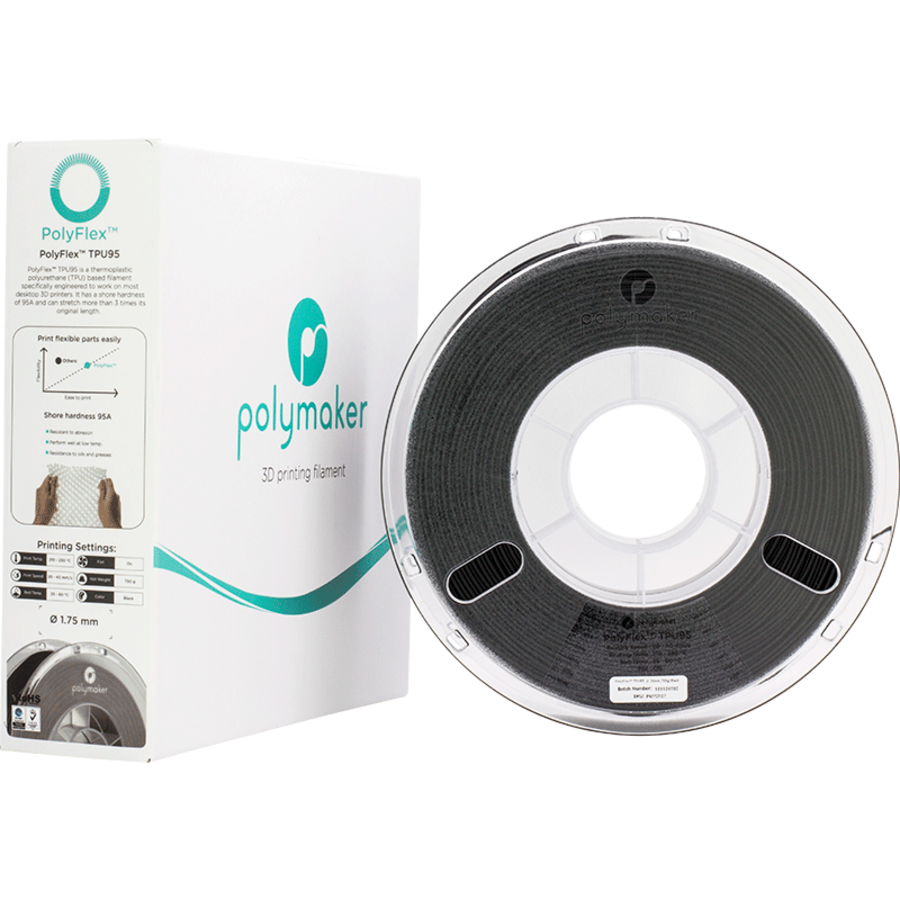 PolyFlex™ TPU90, Black/zwart, flexibel filament - 750 gram-3