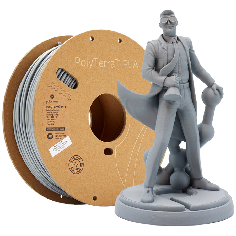 PolyTerra™ PLA Grijs, 1KG, Fossil Grey, 1.000 gram 3D filament-1