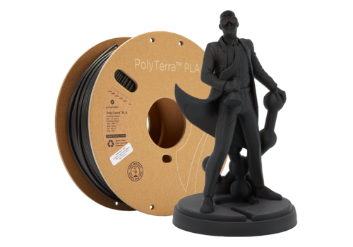Polymaker PolyTerra™ PLA zwart, 1KG, Charcoal Black, 1.000 gram 3D filament