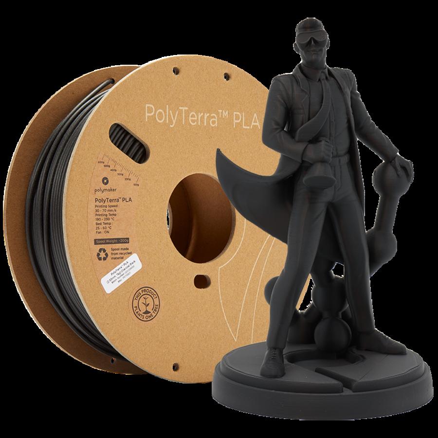 PolyTerra™ PLA zwart, 1KG, Charcoal Black, 1.000 gram 3D filament-1